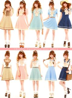 Rakuten: [with two types that a pastel sherbet color can choose collar dot dress |] P]It has been had ◆- Shopping Japanese products from Japan