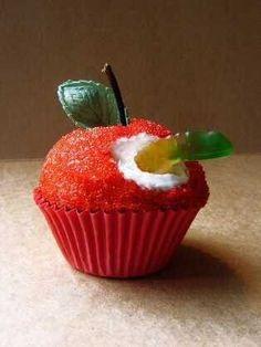 So cute! Apple with worm cupcake