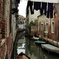 Quiet back canal in Venice, Italy