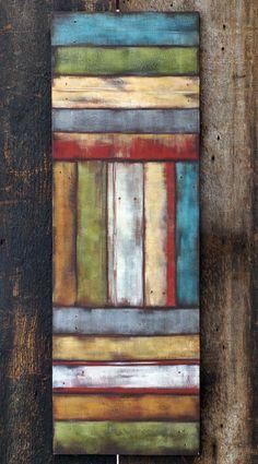 Rustic Barnwood Art , Large Canvas Painting, Tall Acrylic Original, Reclaimed Wood Wall Decor on Etsy, $240.00