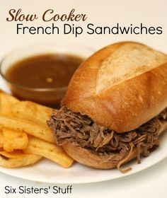 Slow Cooker French Dip Sandwiches on SixSistersStuff.com - only 2 ingredients!!