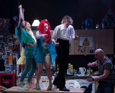 Chloe Lamford's superbly detailed set provides the squalid detail for the rampant punchy party scenes. (L-R Tom Mothersdale, Eve Ponsonby, Alison O'Donnell, Lorne Macdonald, Samuel Edward Cook)