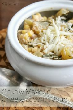 Chunky Mexican Cheesy Zucchini Soup... The name is a mouthful! But so is this soup of goodness!!! ...Bonus it's crock pot recipe! #crockpot #fallsoups #zuccihini {www.maybeiwill.com}