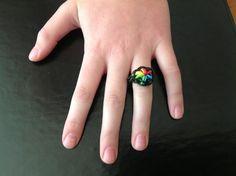 #rainbow #loom  #ring.  Starburst pattern ring.