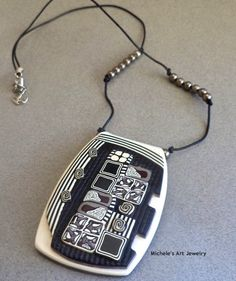 Michele Norine, black & white layered necklace, polymer clay.