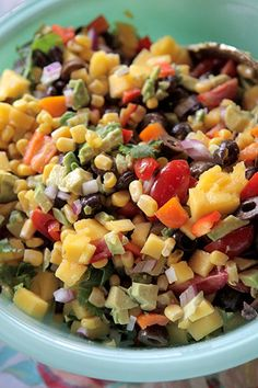 ::farmgirl caviar::  2 15-oz cans black beans  1 15-oz can corn  2 2.25-oz cans sliced olives  juice of 1 lime  1 large handful cilantro, diced  1 large mango, diced  1 yellow pepper, diced  1 orange pepper, diced  1 small red onion, diced  2 large handfuls cherry tomatoes, halved  2 avocados, diced    Mix together and serve with tortilla chips.