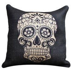 I pinned this Sugar Skull Burlap Pillow in Black from the Dia de los Muertos event at Joss and Main!