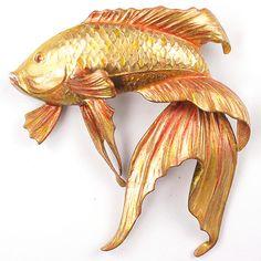 MB Boucher Metallic Enamel Fantail Goldfish Pin  1941