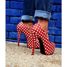 It reminded me of some hooker shoes Minnie might wear. :)  Polka Dot Heels