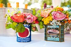 flowers in vintage cans
