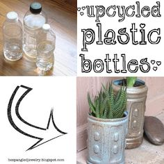 DIY upcycled plastic water bottle planters tutorial...& learn a neat spray-painting technique too :)   #upcycle #plastic #reuse #recycle #garden #diy #craft #tutorial