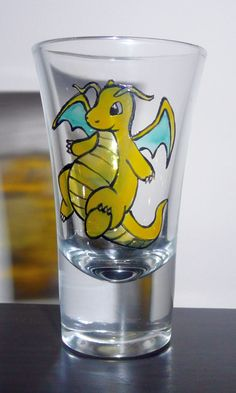 Pokemon  Dragonite Shot Glass Hand painted by ZenCreations on Etsy, $10.00