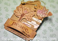 Faux Vintage Christmas Tag - using rubber stamping, distress ink, and kraft cardstock