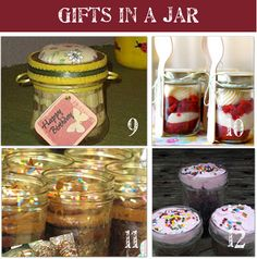 48 homemade gifts in a jar ideas. Links to lots of recipes: cake, pie, candy, cookie mix, etc. Also links to jar decorating ideas.