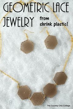 These are amazing! Geometric Lace Jewelry from Shrink Plastic!  An elegant necklace and earrings that can easily be made at home with shrink plastic!