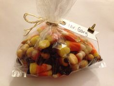 September Teacher Gift: trail mix with candy corn, semi-sweet chocolate chips, & peanuts. Wrap in a cello bag, make a cute tag and it's ready to go!