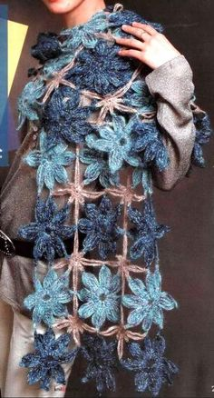 Stylish Crochet Wrap with flowers