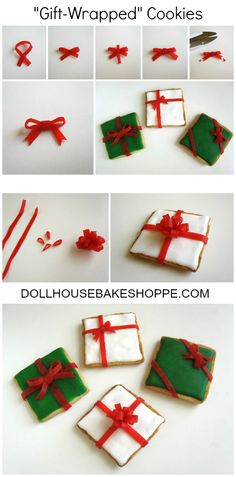 Dollhouse Bake Shoppe: Gift-Wrapped Sugar Cookies  #Christmas #Cookies