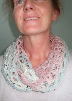 Try this Lover's Knot/Solomon's Knot Cowl in Vanna's Palettes for a colorful, lacy cowl. Pattern by Wool Tribulations.