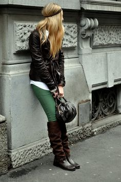 Cute winter outfit with green jeans
