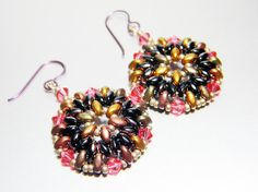 """READY TO SHIP Antique Gold and Jet Sliperit Superduo and Swarovski Earrings """"Harvest Wheel""""by WhimsyBeading"""