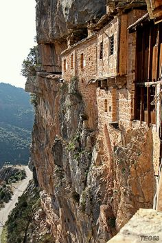 #Monastery of #Kipina is built on the opening of a cave on the edge of the river's Chrousias gorge on the way to #Kalarites village. #Epirus #Greece Greece