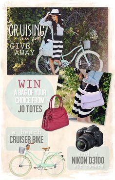 Cruising into Fall giveaway! Beach Cruiser, Nikon Camer and Jo Totes Bag!! Enter on KarasPartyIdeas.com