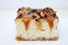 Caramel- Pecan Cheesecake Bars by @RecipeGirl {recipegirl.com} {recipegirl.com}
