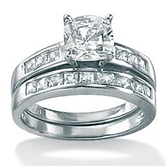 Platinum over Sterling Silver Cushion and Princess-Cut DiamonUltra™ Cubic Zirconia Wedding Ring Set    Gorgeous!!! Thats my ring!!!!