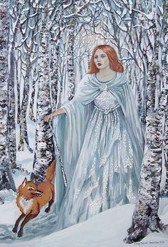 Birch Witch Pagan Winter Goddess 5x7 Greeting by EmilyBalivet, $5.00