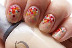 mixed polka dot nails <3