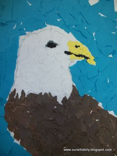 we heart art: torn paper eagles- I like this idea.  Charlotte's Clips