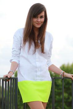 DIY: bicolor dress, so easy you have to love it! fashion, style, neon skirt, diy dress, diy shirtdress, dresses, neon trend, bicolor dress