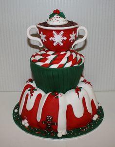Hot Cocoa Christmas Cake | #christmas #xmas #holiday #food #desserts