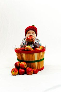 Baby in an apple bushel.  Perfect for one year photo shoot.