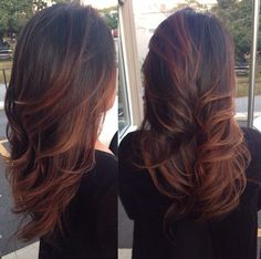 Warm ombrés. For darker shades, it's warm reds/auburns for lighter shades it's honey.