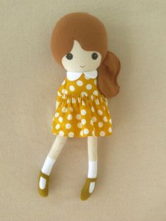 Fabric Doll Rag Doll Brown Haired Girl in Golden by rovingovine, $38.00