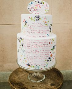 A Custom Poem Wedding Cake | Alexa Loy | blog.theknot.com