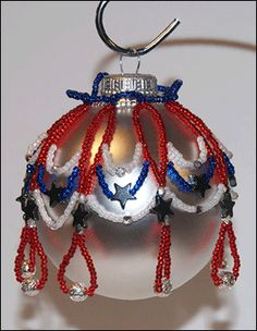 Patriotic Beaded Christmas Ornament Cover Pattern by Alicia Mera Sova at Bead-Patterns.com