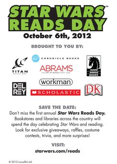 Star Wars Reads Day flyer, October 6th, 2012!