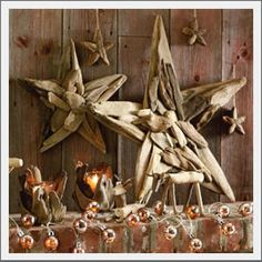 Driftwood Star. Our driftwood stars accent the wall above the mantel, a window or front door.