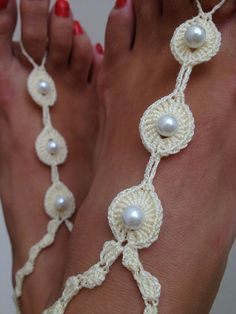 Ivory  color  with white beads Barefoot Sandals by ArtofAccessory, $15.00