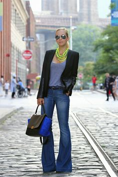 neon accessories and extreme wide leg denim