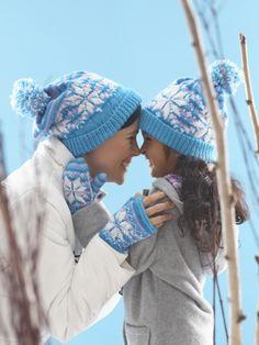 Snowflake Hat and Mittens | Yarn | Free Knitting Patterns | Crochet Patterns | Yarnspirations