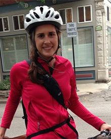 Catherine Lankford trains as part of the Miles to End Polio team.