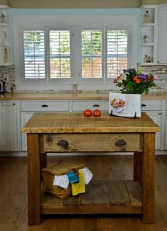 Custom Built Barnwood Kitchen Island. $1,400.00, via Etsy. - Cabin Island