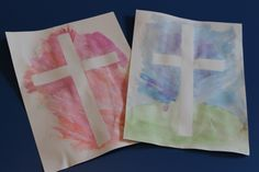 """Easter Sunday Kid's Class: Card Stock, masking tape, water color paint. Write: """"""""He himself bore our sins"""" in his body on the cross, so that we might die to sins and live for righteousness; """"by his wounds you have been healed."""" 1 Peter 2:24 - Might be fun to do in a Sunday School class to include in shoebox gifts."""