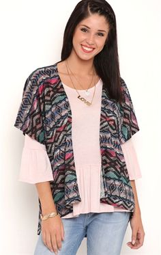 Deb Shops Short Sleeve Multicolor Distressed Aztec Print Sweater Knit Kimono $20.00