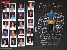 Unique take on the yearbook individual photos. Company shot them on a green screen then placed a photo booth curtain behind them making the boring rows into photo strips.  Timber Creek HS, Fort Worth, Texas