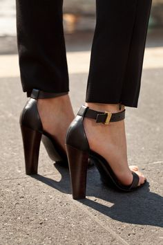 ankle straps + chunky heels from Céline